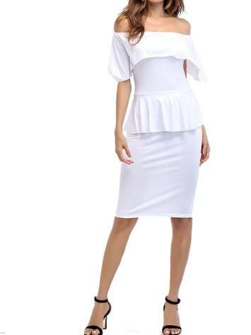 off Shoulder Double-Layered Women's Pencil Dress