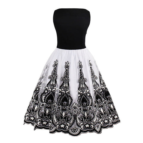 Sleeveless black and white elegant dresses with floral print