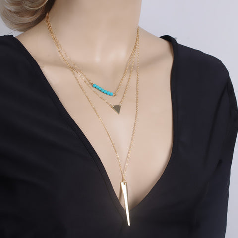 Multi-layer Crystal Pendant Chain Necklace