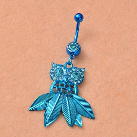 Blue Crystal Owl Dangle Belly Button Piercing Jewelry
