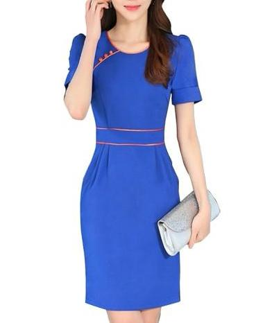 Plain Short Sleeve Office Workwear Women's Bodycon Dress (Plus Size Available)