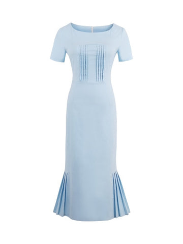 Light Blue Ruffled Fishtail Dress