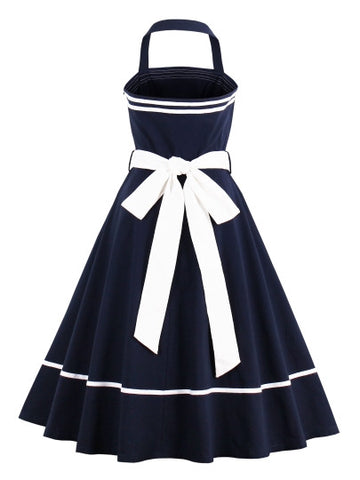 Jozie Dark Blue Sleeveless Day Dress