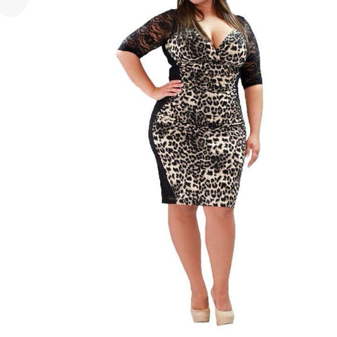 Leopard Stitching Hollow V-Neck Large Size Mini Dress