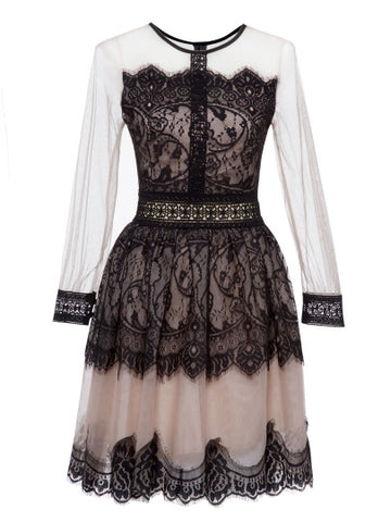 Color  Block Patchwork Long Sleeve Lace Dress