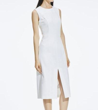 Sleeveless White  Sheath Dress