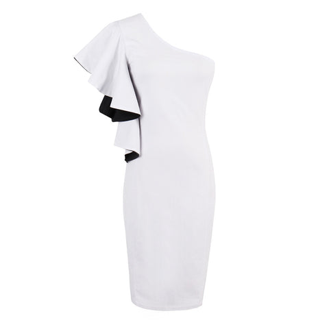 White Below Knee Sheath Dress