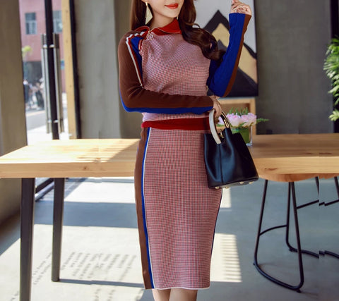 2 Pieces Knitting Sets , Zipper High Collar Sweater + Fashion Package Hip Knee Skirt Suit.