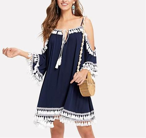 Shoulder Tie Neck Tassel Hem Swing Dress