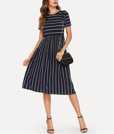 Navy Elegant Round Neck Short Sleeve Dress