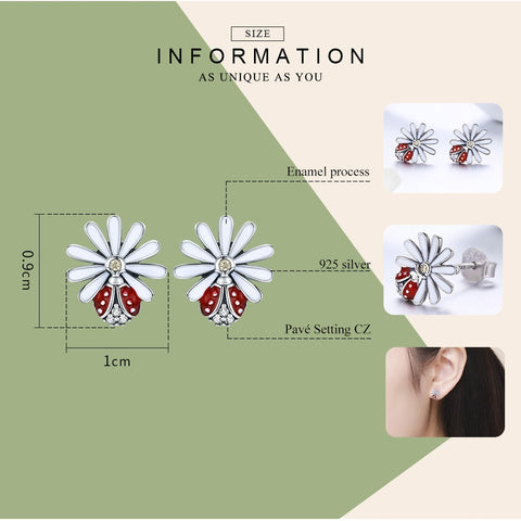 Sterling Silver Daisy Flower Red Ladybug Stud Earrings