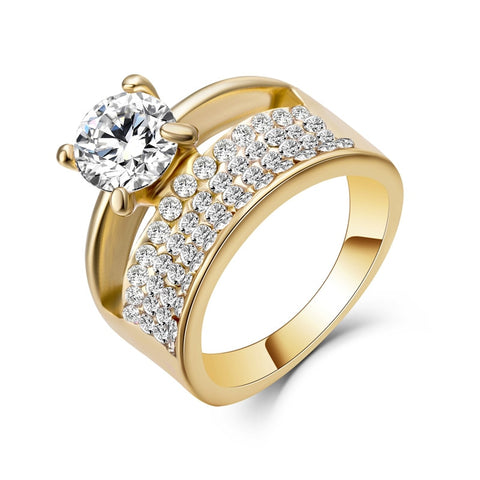 Bridal Sets Double Rings, Gold Filled Wedding Ring Set