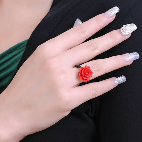 Red Rose Flower Rings Fashion