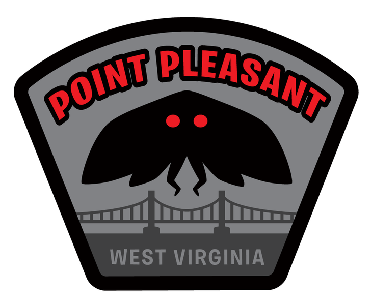 """Point Pleasant"" Mothman paranormal location travel patch pre-order"