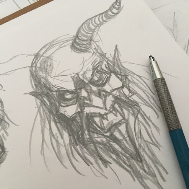 Krampus head pencil sketch