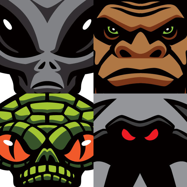Bigfoot, Sasquatch, Mothman, Reptilian Alien patch art preview