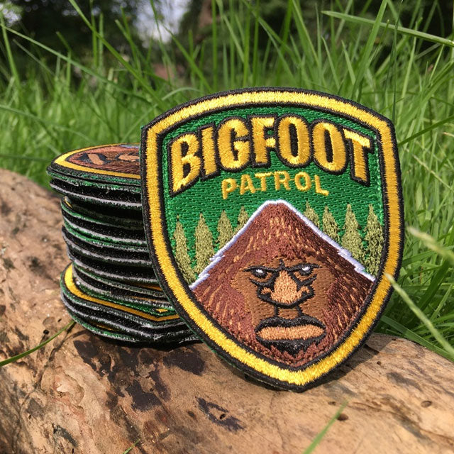 Bigfoot Patrol cryptozoology embroidered patch outdoor photo by Monsterologist