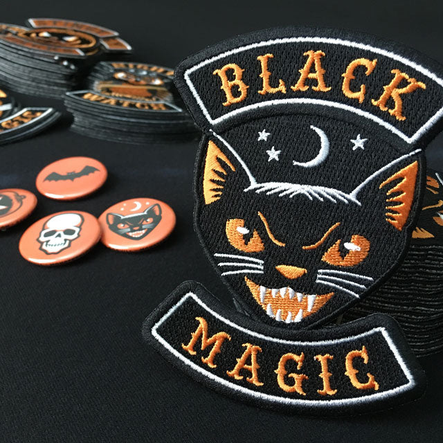 Black cat vintage Halloween embroidered patch