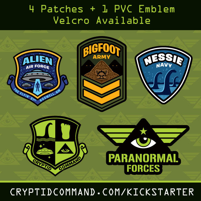 Cryptid Command cryptozoology military embroidered patch promo design for Kickstarter campaign by Monsterologist