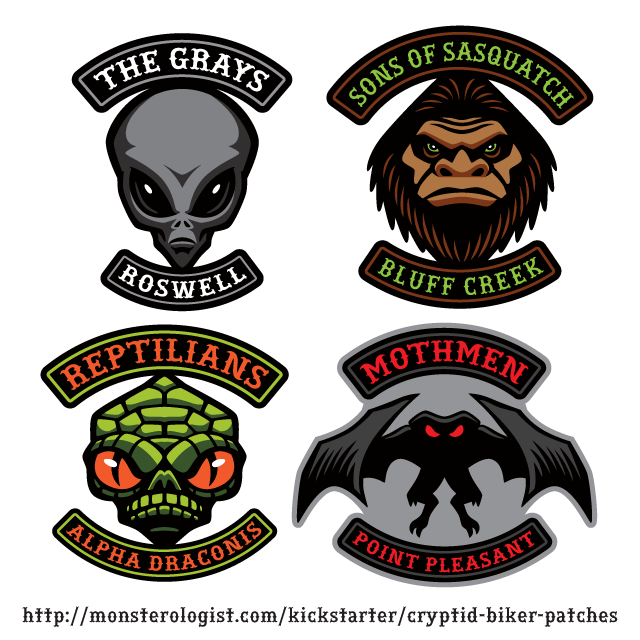 Cryptid Biker Patches: Sasquatch/Bigfoot, Gray Aliens, Mothman, Reptilians