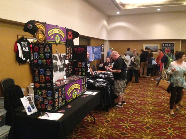 Monsterologist cryptid patches & pins artist table at Cryptid Con 2017 in Frankfort, Kentucky