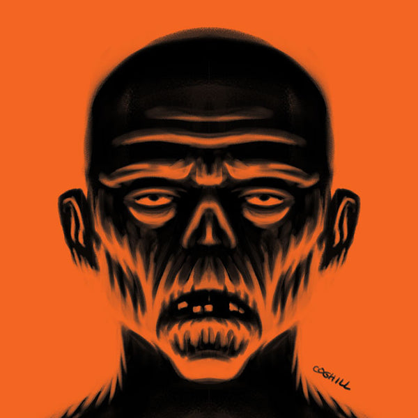 Haloween orange black color palette ghouls drawing by George Coghill