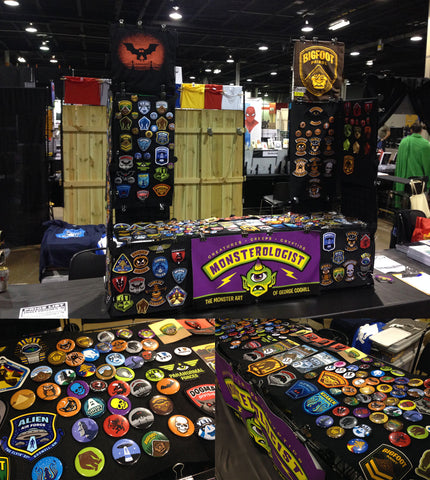 Monsterologist cryptid patches & pins artist table at Wizard World Chicago 2017
