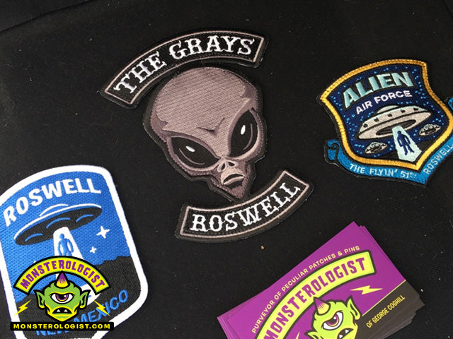 Roswell alien & UFO embroidered patches by Monsterologist (artist George Coghill).
