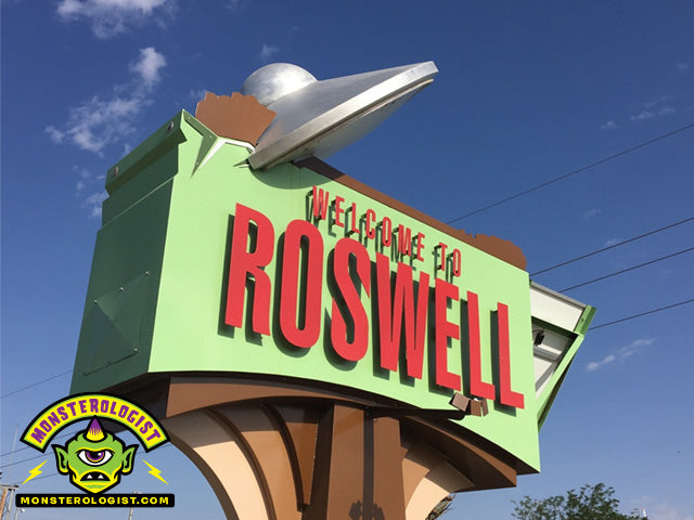 Roswell New Mexico city sign with UFO crash.