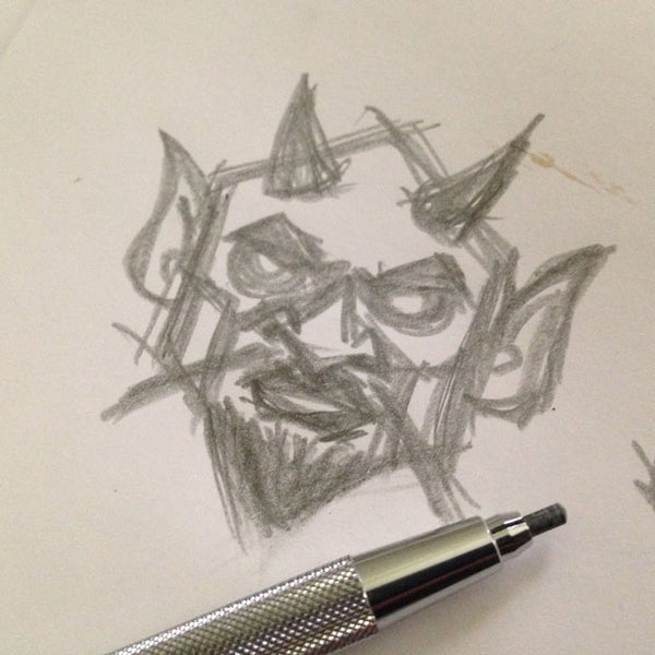 Devil head pencil sketch by monster artist George Coghill