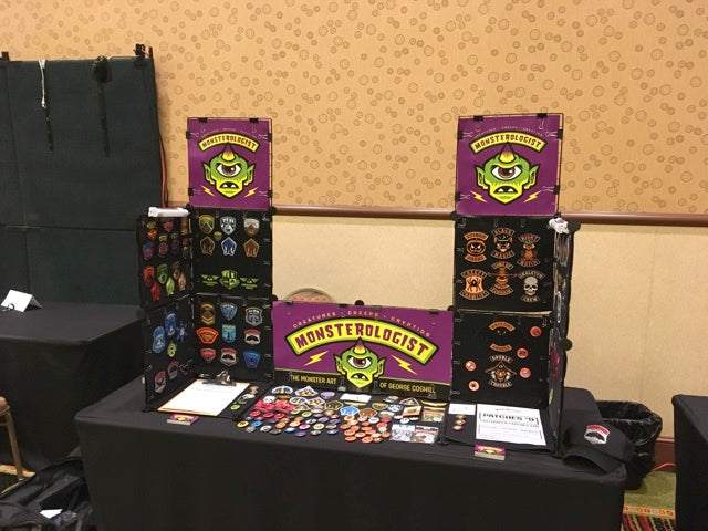 Monsterologist vendor table travel setup