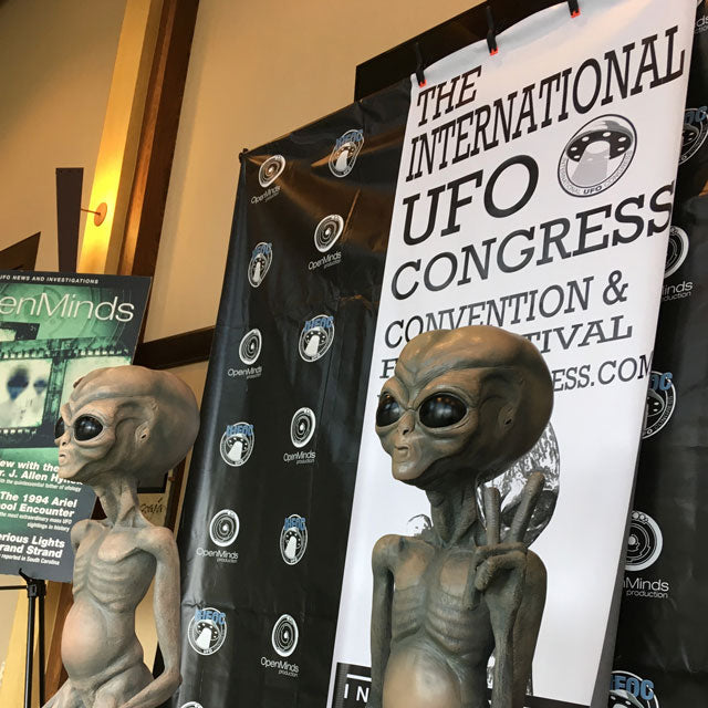 International UFO Congress alien sculptures.