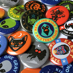 Cryptozoology, paranormal & supernatural pin-back buttons by Monsterologist