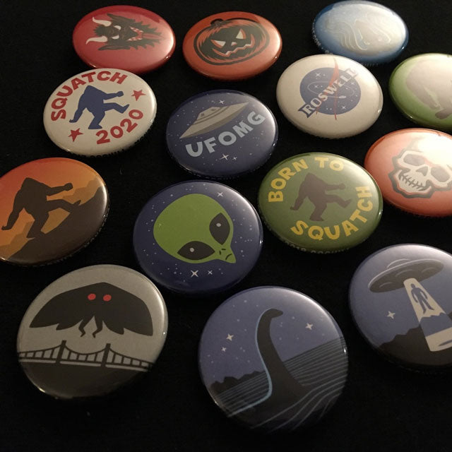 Cryptozoology, paranormal & supernatural buttons by artist Monnsterlogist