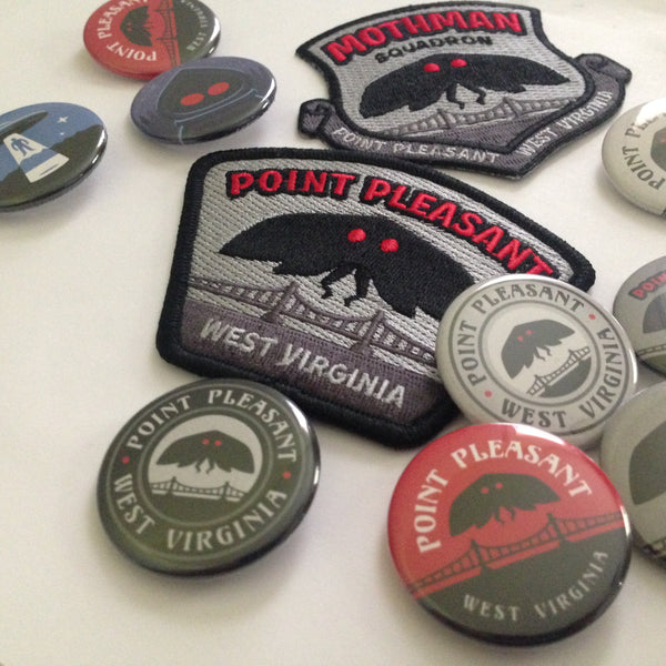 Point Pleasant Mothman paranormal travel patch and buttons.