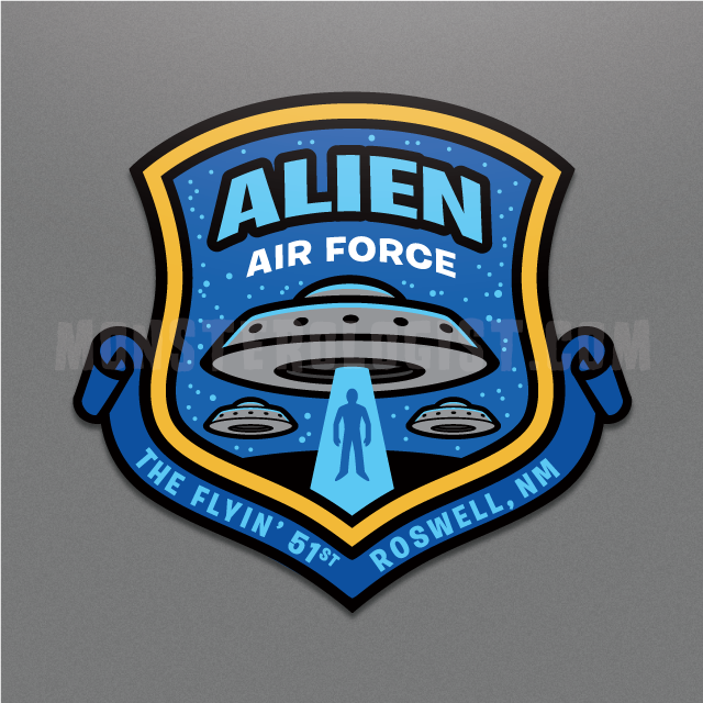 Alien Air Force military-style shield insignia sticker by Monsterologist