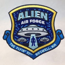 Load image into Gallery viewer, Alien Air Force UFO Roswell military embroidered morale patch by Monsterologist