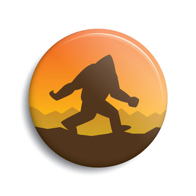 Bigfoot silhouette sunset button.