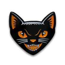 Load image into Gallery viewer, Black Cat Head enamel pin vintage Halloween