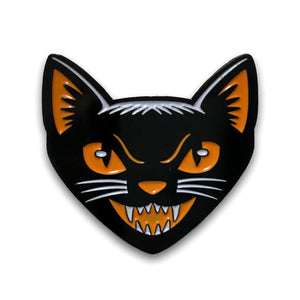 Black Cat Head enamel pin vintage Halloween