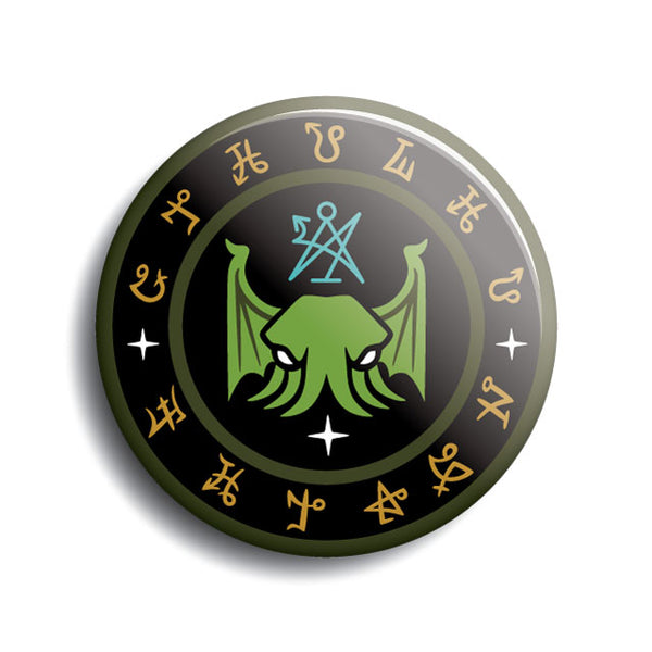 Cthulhu Fhtagn Lovercraft pin-back button with secret society occult sigils, by Monsterologist