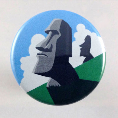 Easter Island Moai head statue pin-back button