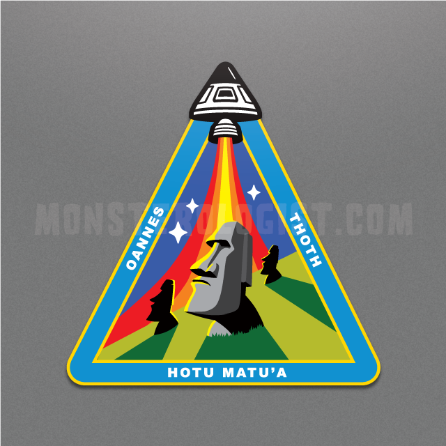 Easter Island Moai ancient astronaut mission patch by Monsterologist
