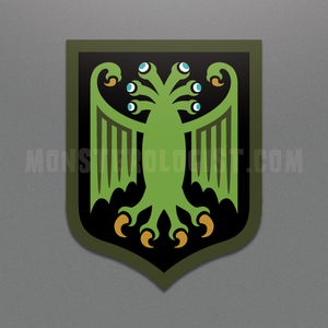 Elder Thing heraldic shield die-cut vinyl sticker by Monsterologist