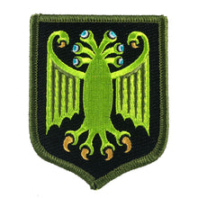 Load image into Gallery viewer, Elder Thing heraldic shield embroidered patch by Monsterologist