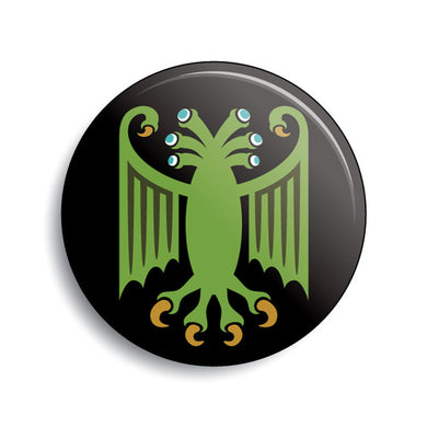 Elder Thing heraldic Lovecraft pin-back button by Monsterologist