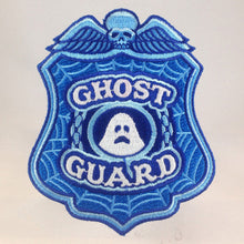 Load image into Gallery viewer, Ghost Guard police badge embroidered morale patch | skull | glow-in-the-dark | Monsterologist