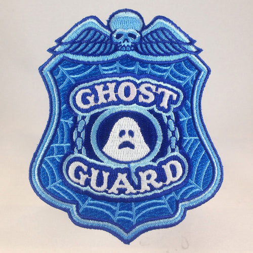Ghost Guard police badge patch with skull glow-in-the-dark