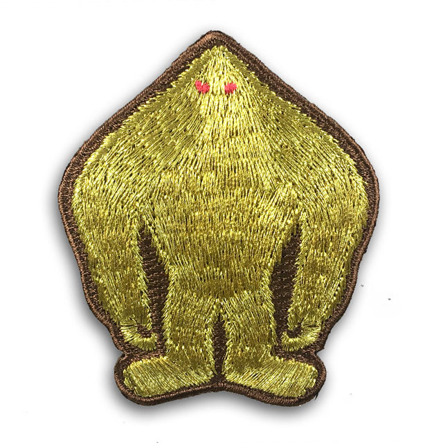 Gold metallic thread Bigfoot Sasquatch embroidered patch by Monsterologist