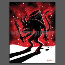 Load image into Gallery viewer, Krampus at print by Monsterologist. Limited-palette drawing on glicee matte print.